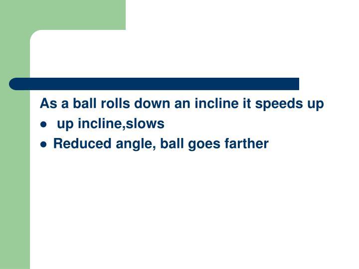 As a ball rolls down an incline it speeds up
