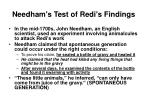needham s test of redi s findings