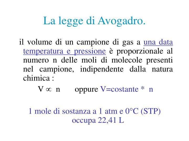 La legge di Avogadro.