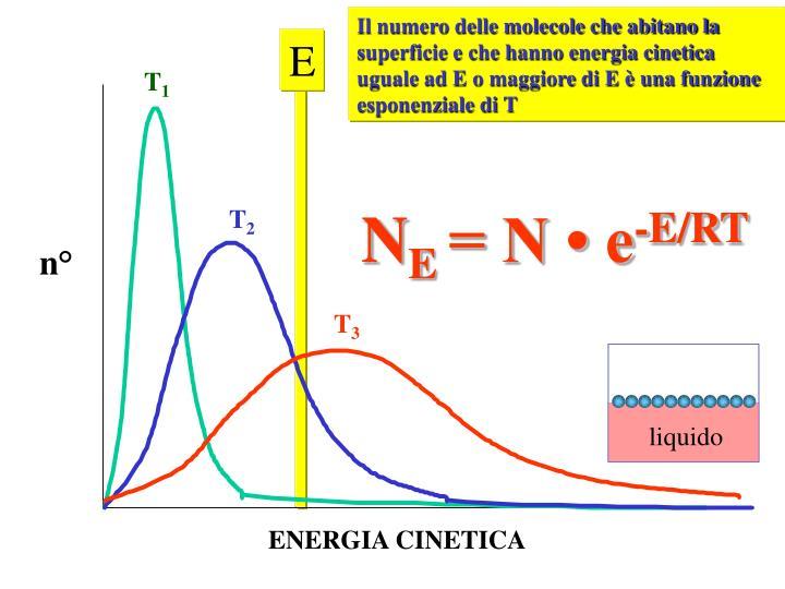 Il numero delle molecole che abitano la superficie e che hanno energia cinetica uguale ad E o maggiore di E è una funzione esponenziale di T