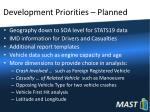 development priorities planned