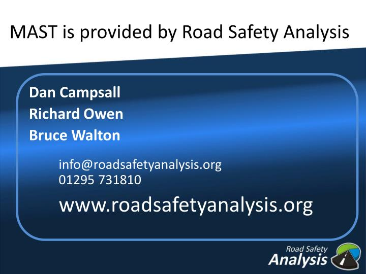 MAST is provided by Road Safety Analysis