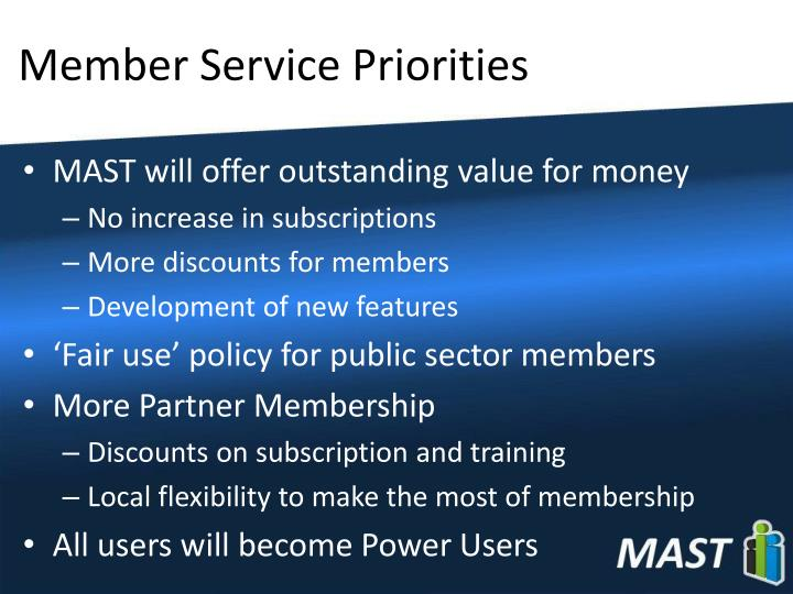 Member Service Priorities