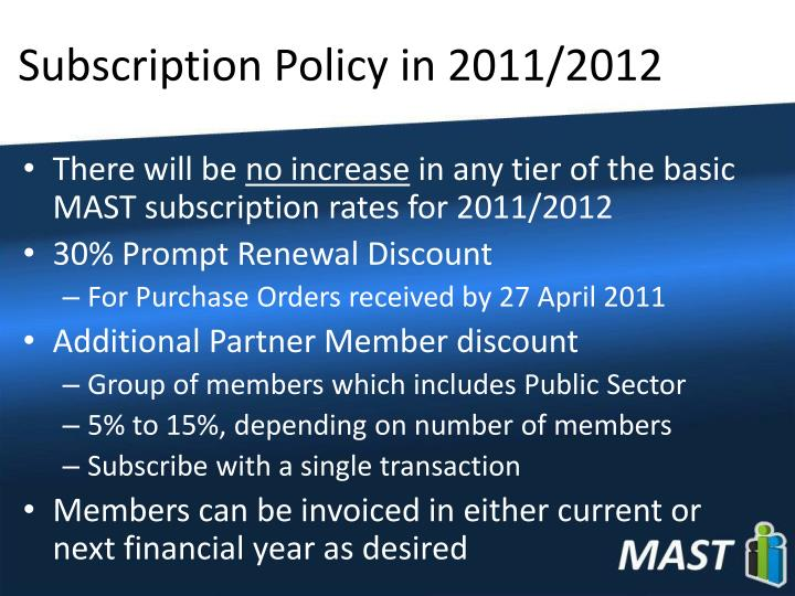 Subscription Policy in 2011/2012
