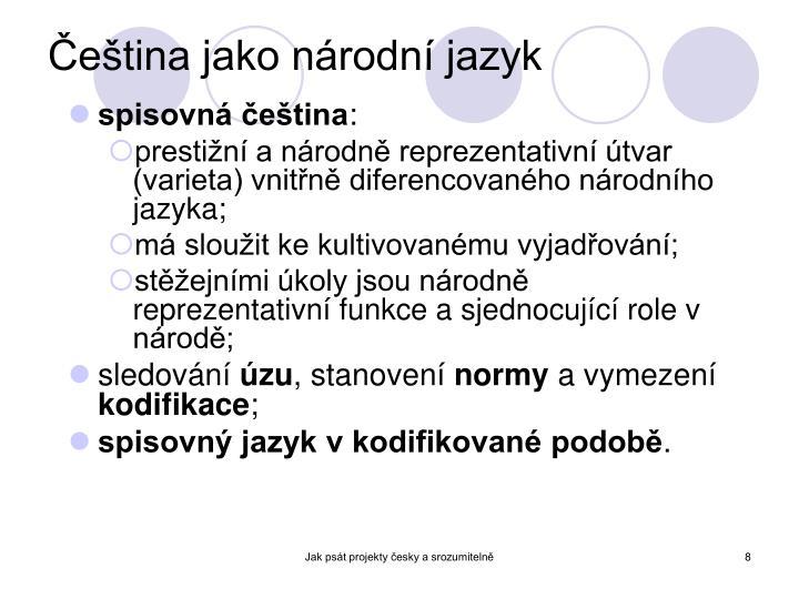 Čeština jako národní jazyk