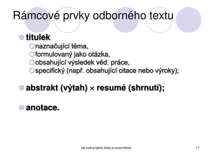 Rámcové prvky odborného textu