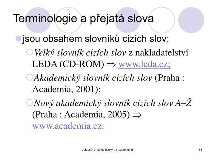Terminologie a přejatá slova