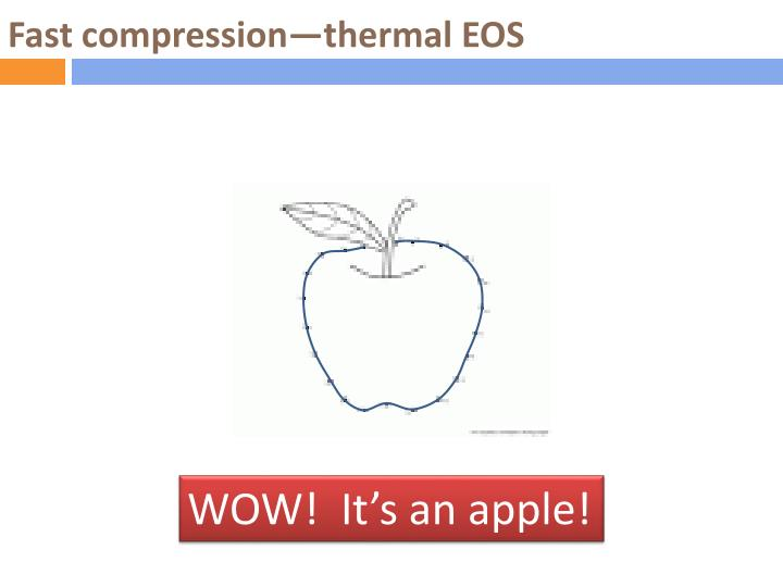 Fast compression—thermal EOS