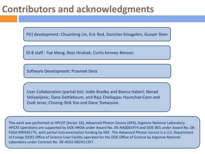 Contributors and acknowledgments