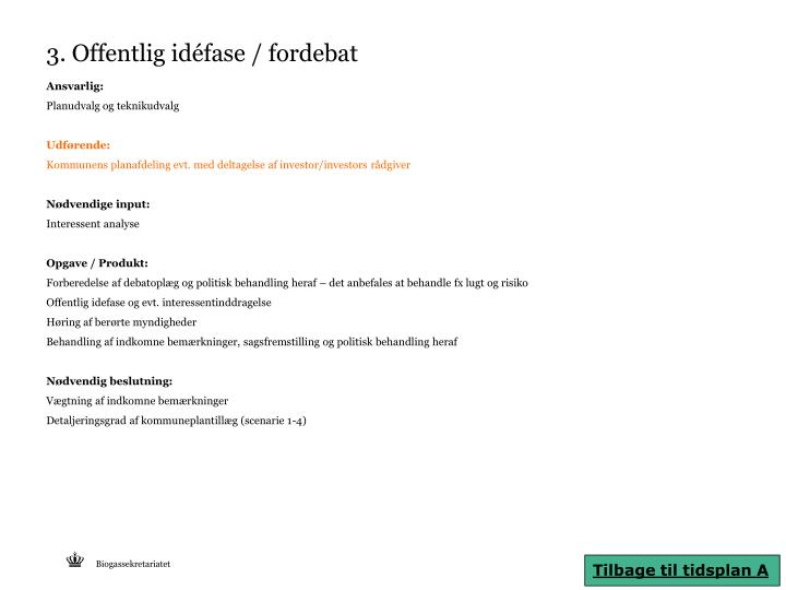 3. Offentlig idéfase / fordebat