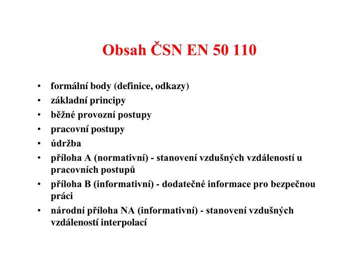 Obsah ČSN EN 50 110