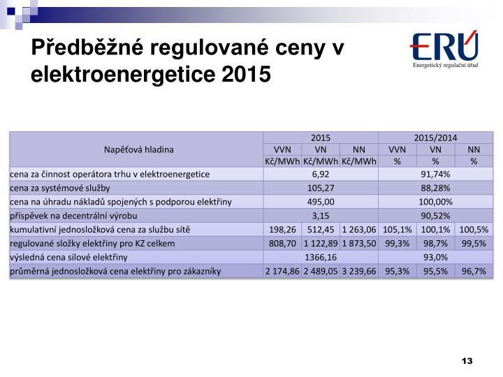 Předběžné regulované ceny v