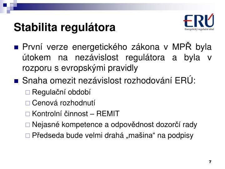 Stabilita regulátora
