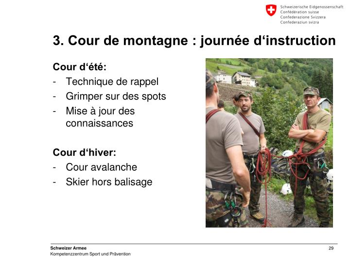 3. Cour de montagne : journée d'instruction