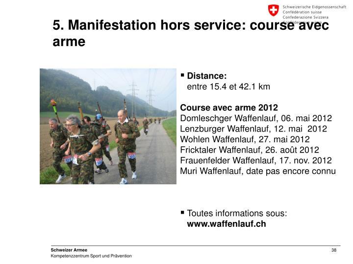 5. Manifestation hors service: course avec arme