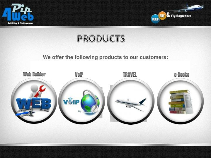 We offer the following products to our customers