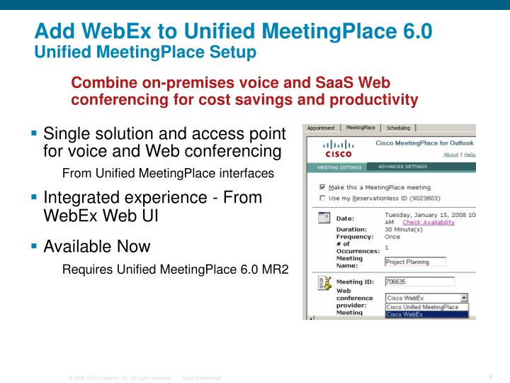 Add WebEx to Unified MeetingPlace 6.0