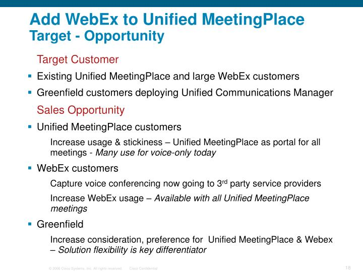 Add WebEx to Unified MeetingPlace