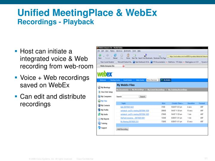 Unified MeetingPlace & WebEx