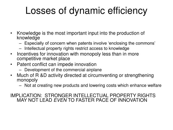Losses of dynamic efficiency