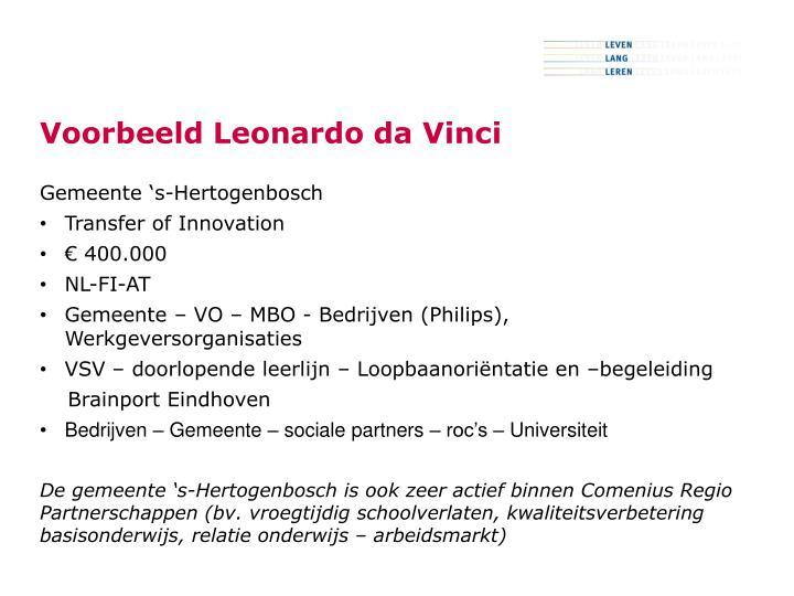 Voorbeeld Leonardo da Vinci