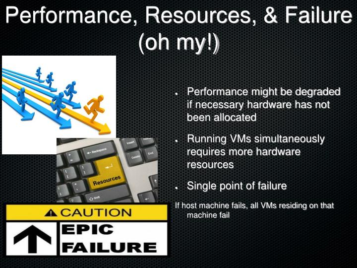 Performance, Resources, & Failure (oh my!)