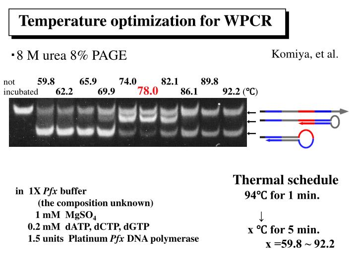Temperature optimization for WPCR