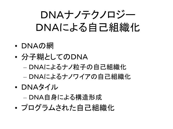 DNAナノテクノロジー