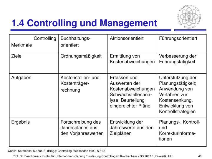 1.4 Controlling und Management