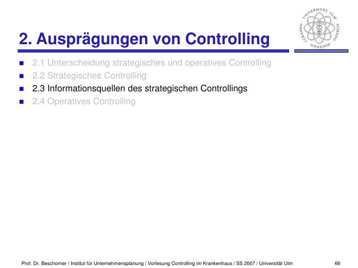 2. Ausprägungen von Controlling