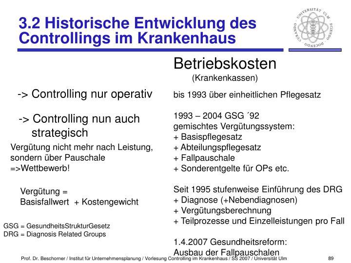 3.2 Historische Entwicklung des Controllings im Krankenhaus