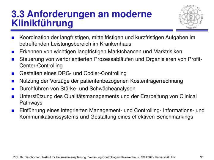 3.3 Anforderungen an moderne Klinikführung