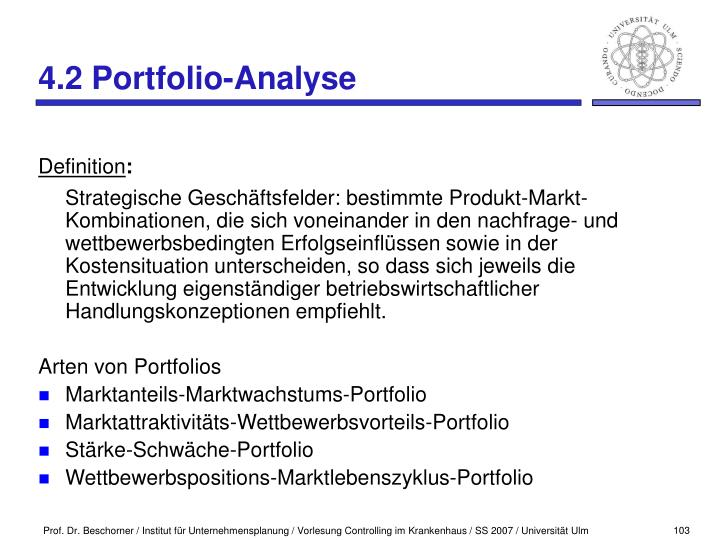 4.2 Portfolio-Analyse