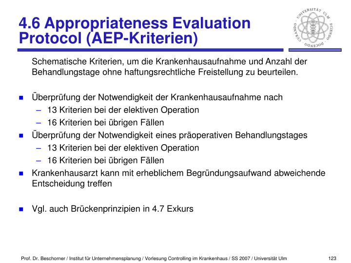 4.6 Appropriateness Evaluation Protocol (AEP-Kriterien)