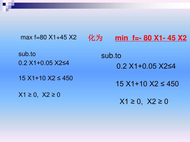 max f=80 X1+45 X2