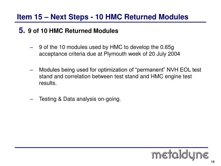 Item 15 – Next Steps - 10 HMC Returned Modules