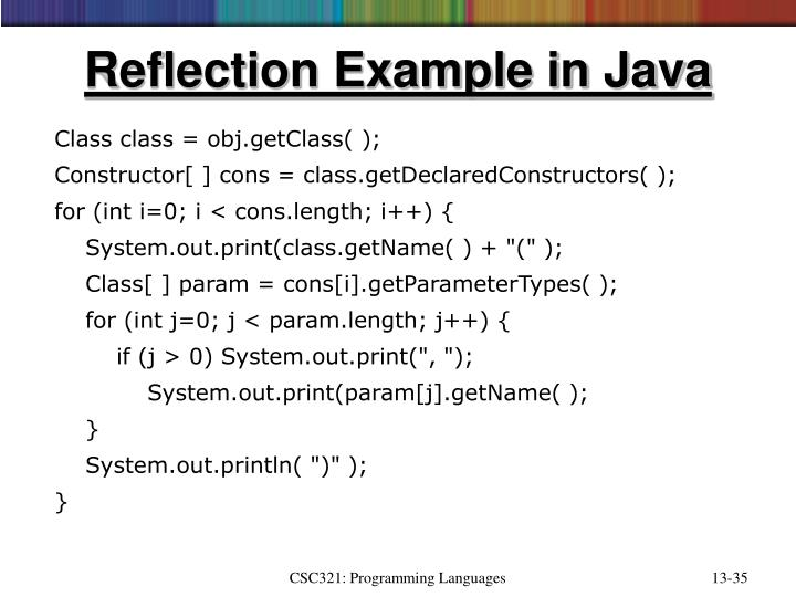 Reflection Example in Java