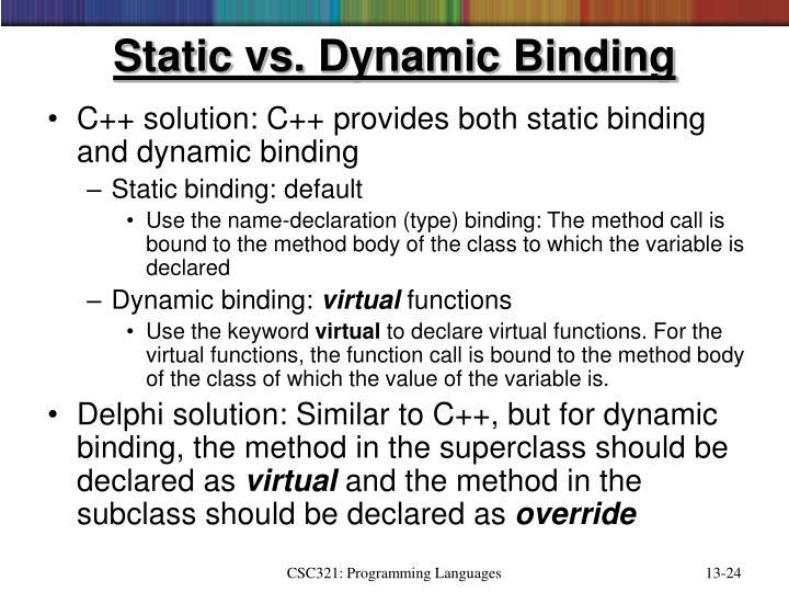 Static vs. Dynamic Binding