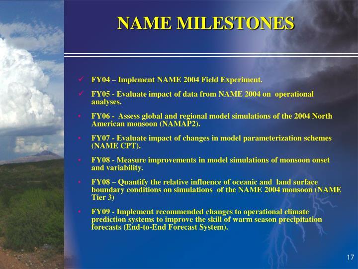 NAME MILESTONES