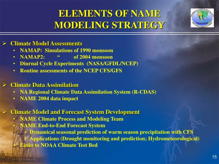 ELEMENTS OF NAME                                   MODELING STRATEGY