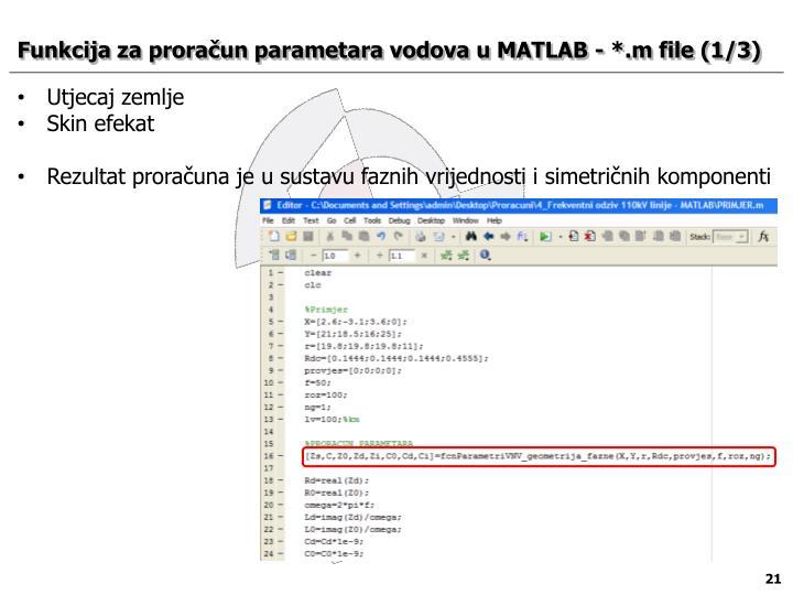 Funkcija za proračun parametara vodova u MATLAB - *.m