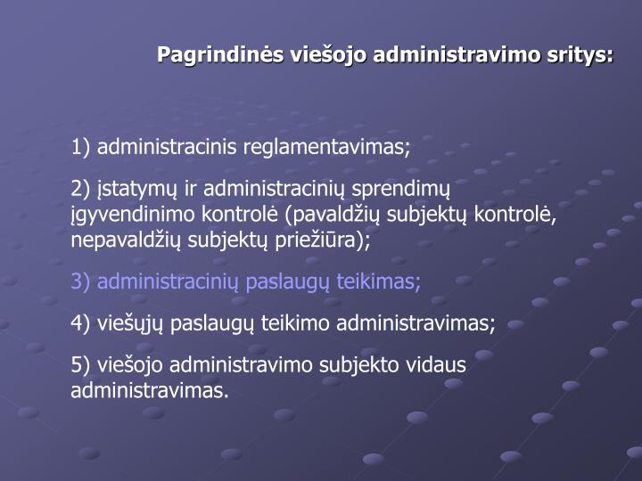 Pagrindins vieojo administravimo sritys: