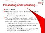 presenting and publishing
