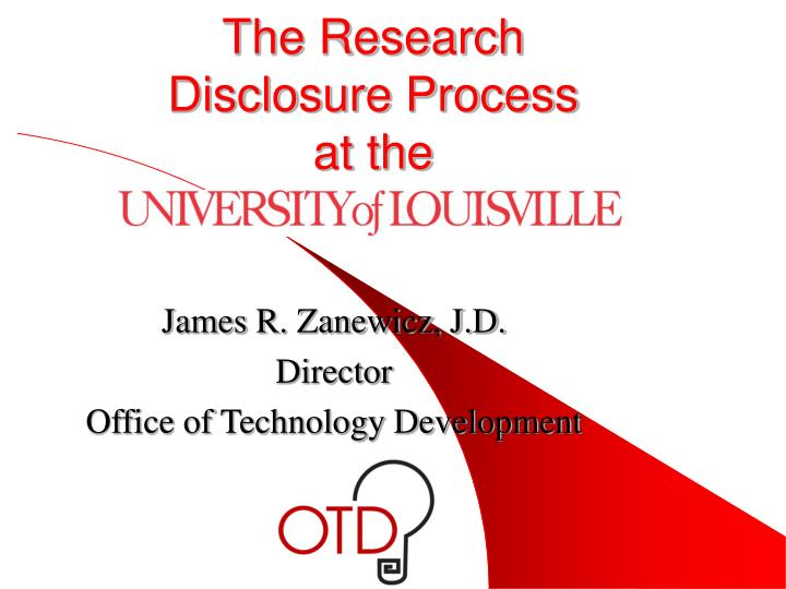 The research disclosure process at the