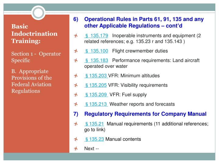 Operational Rules in Parts 61, 91, 135 and any other Applicable Regulations – cont