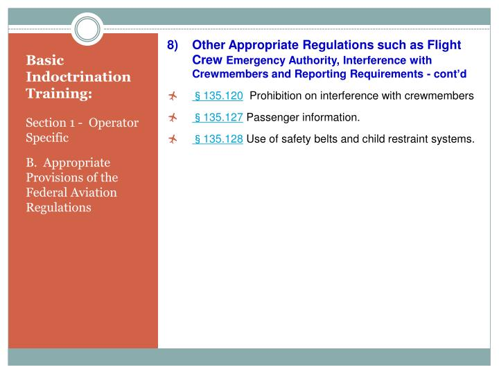 Other Appropriate Regulations such as Flight Crew