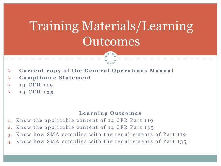 Training Materials/Learning Outcomes