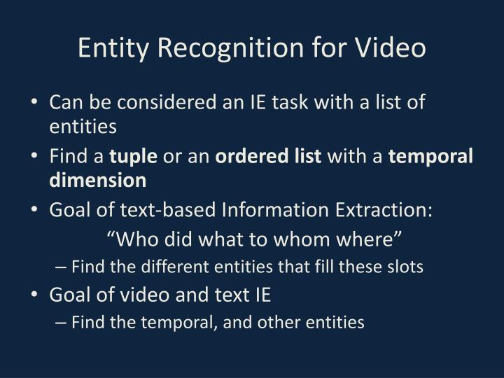 Entity Recognition for Video