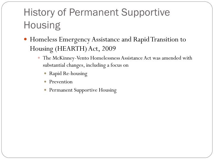 History of Permanent Supportive Housing