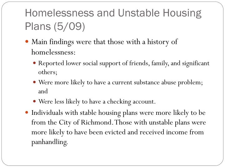 Homelessness and Unstable Housing Plans (5/09)